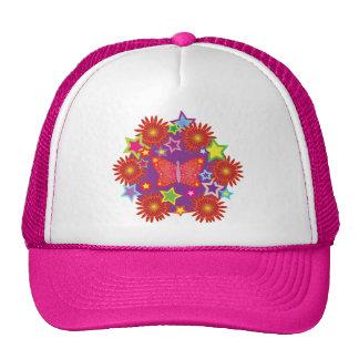 butterflies,flowers, and stars trucker hat