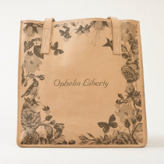 butterflies flowers bird etched leather craft bag
