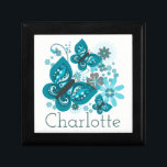 "Butterflies & Flowers Customise Jewellery/Gift Box<br><div class=""desc"">Vibrant and pretty blue butterfly and flowers graphic design with customisable name.</div>"