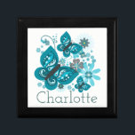 "Butterflies & Flowers Customize Jewelry/Gift Box<br><div class=""desc"">Vibrant and pretty blue butterfly and flowers graphic design with customizable name.</div>"