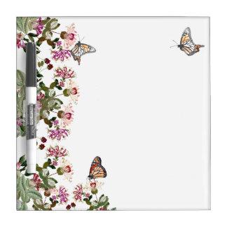 Butterflies Flowers Floral Dry Erase Board