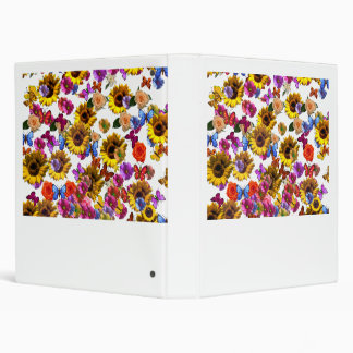 Butterflies & Flowers Full Coverage Graphic 3 Ring Binder