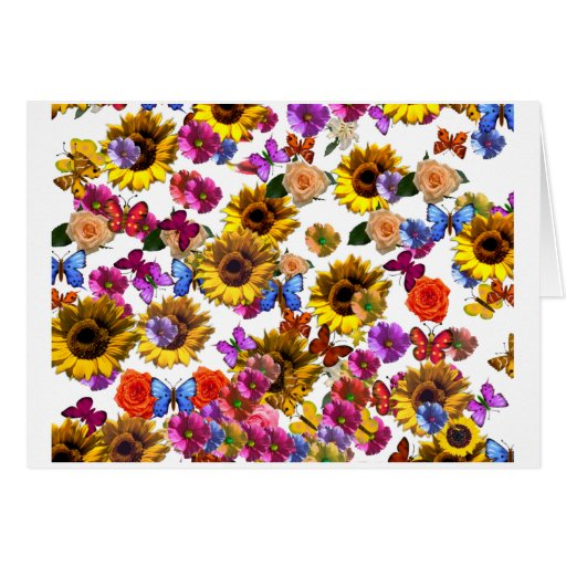 Butterflies & Flowers Full Coverage Graphic Stationery Note Card