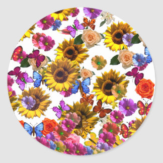 Butterflies & Flowers Full Coverage Graphic Classic Round Sticker