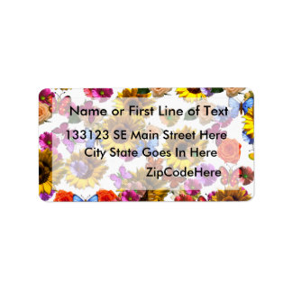 Butterflies & Flowers Full Coverage Graphic Address Label