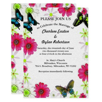 Butterflies & Flowers in Mosaic Add Couple Photo Invitation