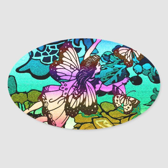 Butterflies, Flowers, Rainbow, Angel Oval Sticker