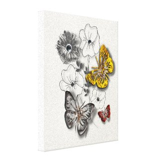 Butterflies Flowers Red Gold Grey Minimalist Style Stretched Canvas Print