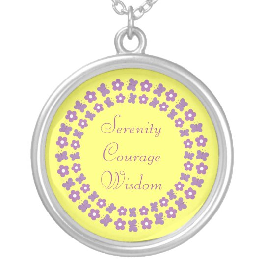 Butterflies & Flowers Serenity Courage Wisdom Silver Plated Necklace