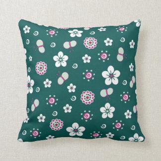 Butterflies & Flowers Throw Pillow
