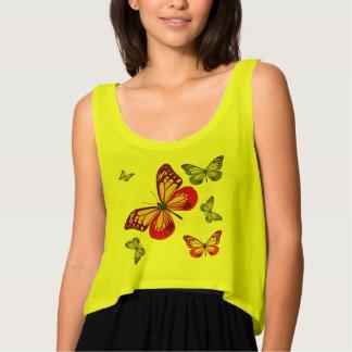 Butterflies Flowy Crop Tank Top