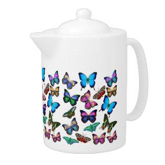 Butterflies Fluttering By Teapot