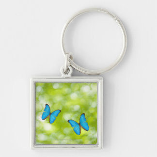 Butterflies flying, Digital Composite Silver-Colored Square Keychain