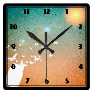 Butterflies Flying Toward the Sun Square Wall Clock