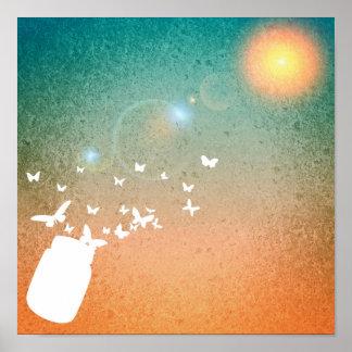 Butterflies Flying Toward the Sun Poster