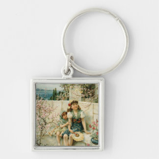 Butterflies, from the Pears Annual, 1910 Silver-Colored Square Keychain
