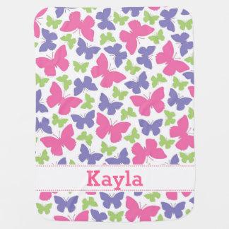 Butterflies Girls' Personalized Blanket Receiving Blanket