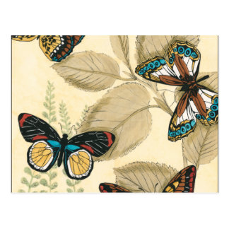 Butterflies Gliding Over Leaves Postcard