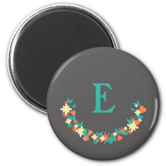 Butterflies, Hearts & Flowers Wreath Teal Monogram 2 Inch Round Magnet