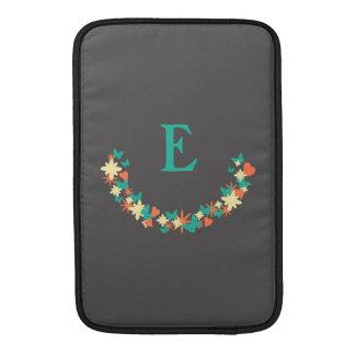 Butterflies, Hearts & Flowers Wreath Teal Monogram MacBook Sleeve