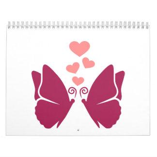 Butterflies hearts love calendar