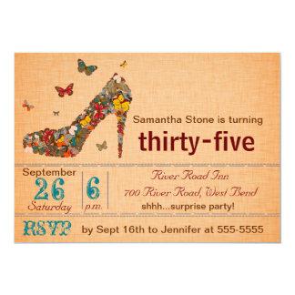 Butterflies High Heel 35th Birthday Invite