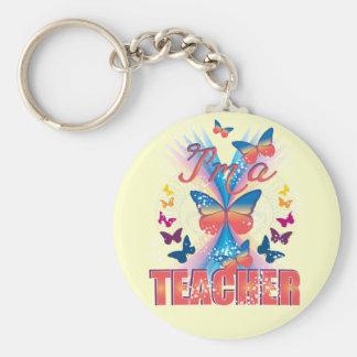 Butterflies I'm a Teacher Basic Round Button Keychain