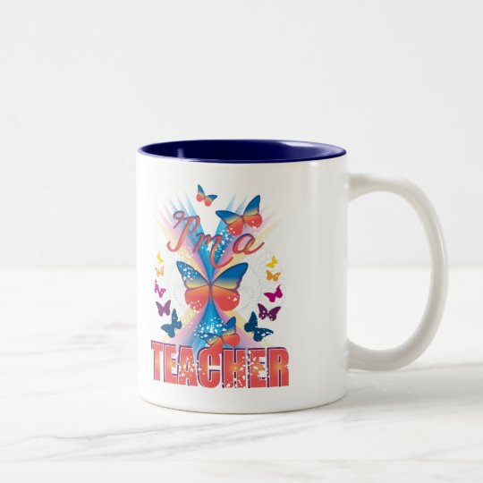 Butterflies I'm a Teacher Two-Tone Coffee Mug