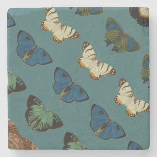 Butterflies in Blue Stone Coaster