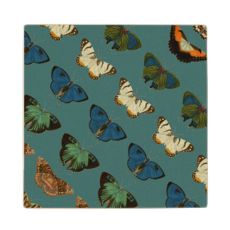 Butterflies in Blue Wooden Coaster