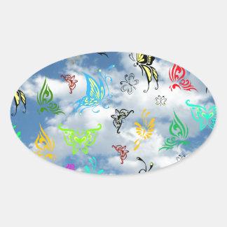 Butterflies in Clouds Oval Sticker