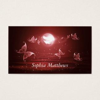 Butterflies in Crimson Moonlight Business Card