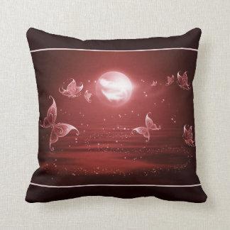 Butterflies in Crimson Moonlight Pillow