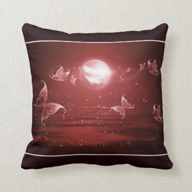 Butterflies in Crimson Moonlight Pillow