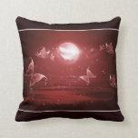 Butterflies in Crimson Moonlight Throw Pillows