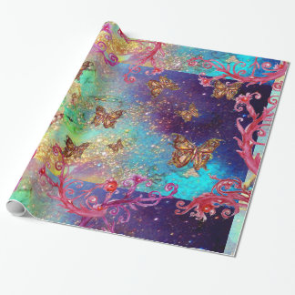 BUTTERFLIES IN GOLD YELLOW AQUA BLUE SPARKLES WRAPPING PAPER