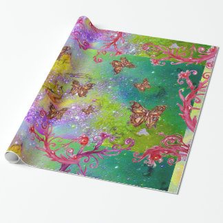 BUTTERFLIES IN GOLD YELLOW PURPLE GREEN SPARKLES WRAPPING PAPER
