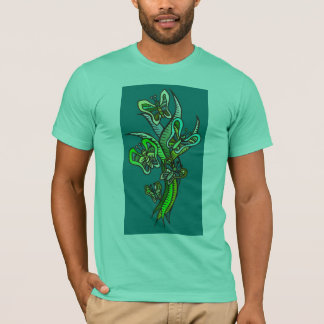 Butterflies in Green T-Shirt