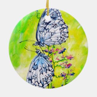 Butterflies in Love Ceramic Ornament
