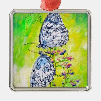 Butterflies in Love Metal Ornament