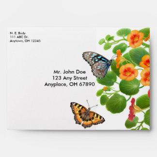 Butterflies in Nasturtiums Envelope