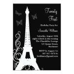 Butterflies in Paris 21st Birthday Invite black