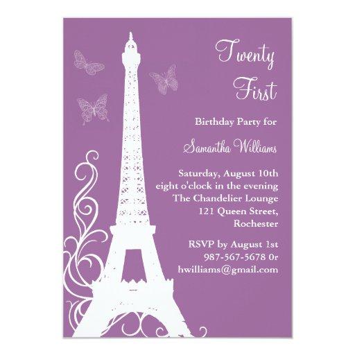 Butterflies in Paris 21st Birthday Invite purple