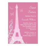 Butterflies in Paris Birthday Invite pink