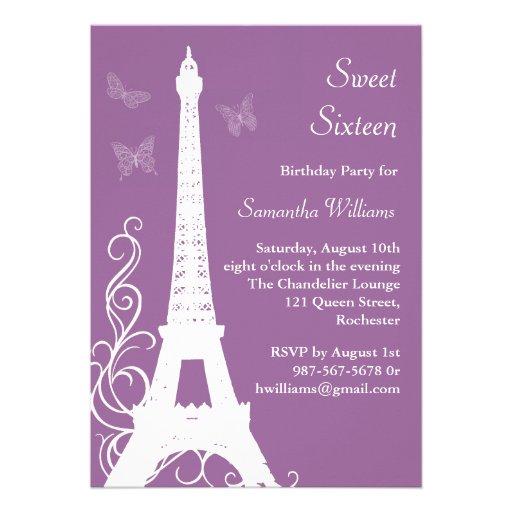 Butterflies in Paris Birthday Invite purple