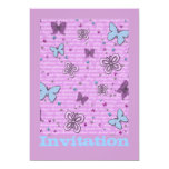 Butterflies In Pink And Purple Personalised Announcement