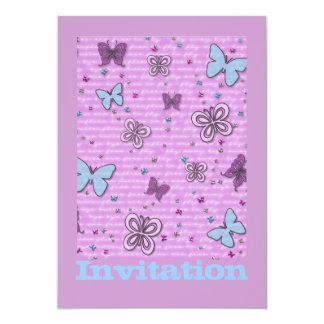 Butterflies In Pink And Purple 13 Cm X 18 Cm Invitation Card