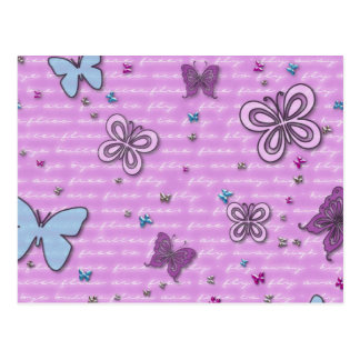 Butterflies In Pink And Purple Postcard