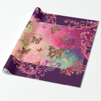BUTTERFLIES IN PINK SPARKLES-MAGIC BUTTERFLY PLANT WRAPPING PAPER