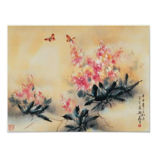 Butterflies in Spring Poster
